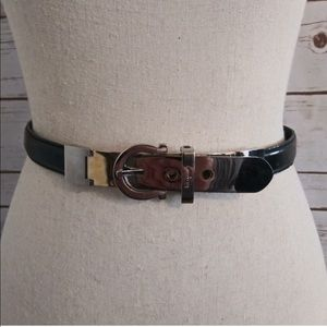 "Salvatore Ferragamo: black leather 3/4"" belt, 2"